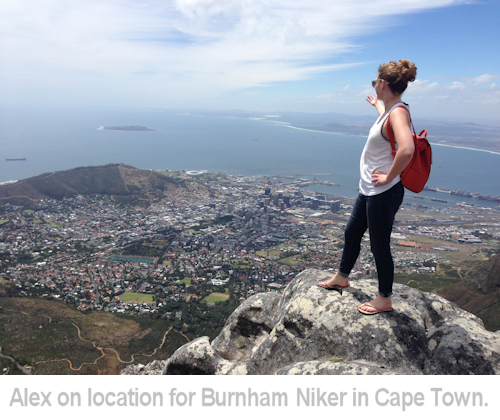 alex on location for burnham niker in cape town.