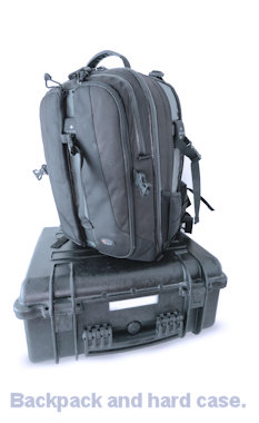 image of a backpack and a hard case.