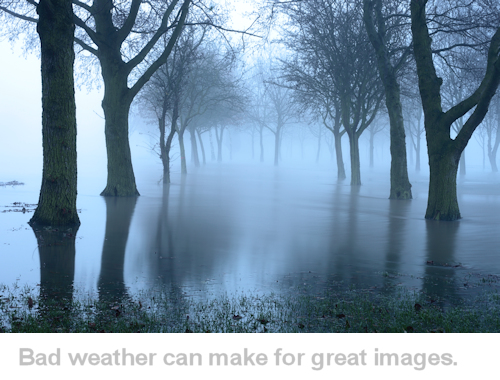 example of photograph in bad weather, fog and floods
