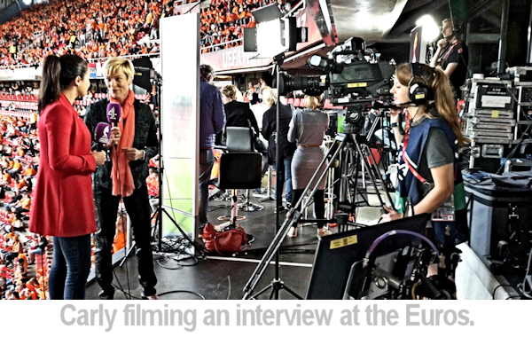Carly filming at the Euros football tournament.