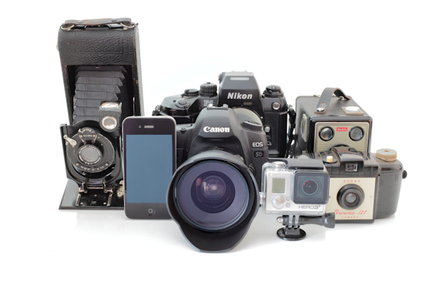 examples of new and old cameras and phone.