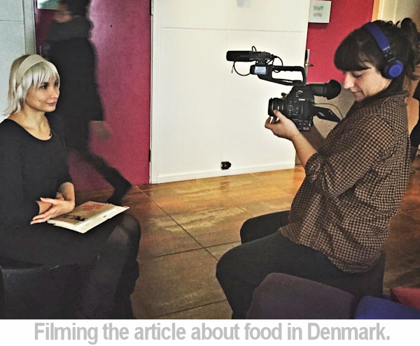 Kathleen filming the food article in Denmark.