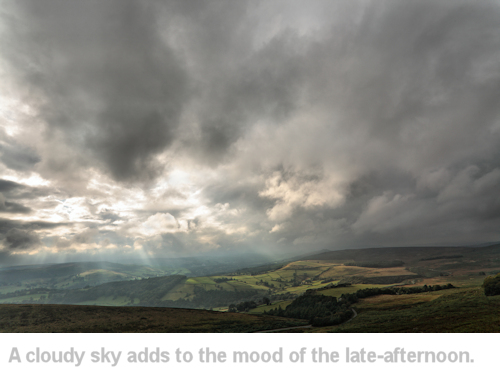 example of a landscape taken in late-afternoon sunlight with a moody sky
