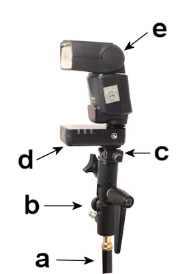 portable flash or strobe setup with wireless trigger.