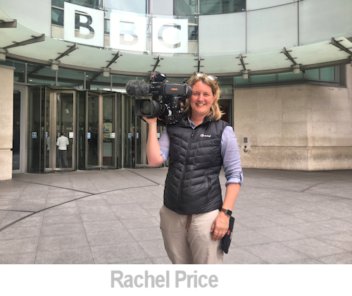 portrait of rachel price outside the BBC building.