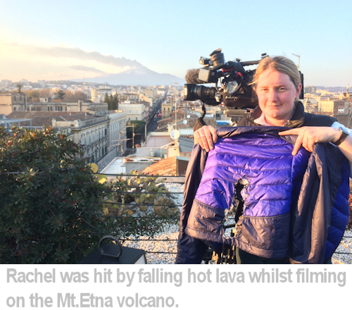 Rachel's jacket was burnt by falling lava.