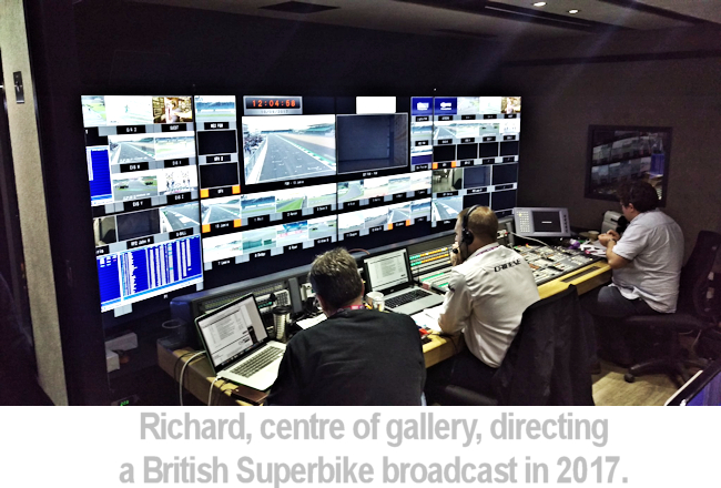 Richard in centre of gallery directing a superbike broadcast in 2017.